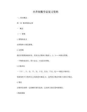 2016年人教版小升初数学总复习资料.doc