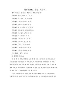 同步带规格、型号、尺寸表.doc