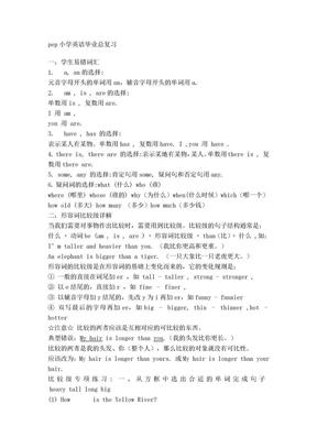 pep小学英语毕业总复习.doc