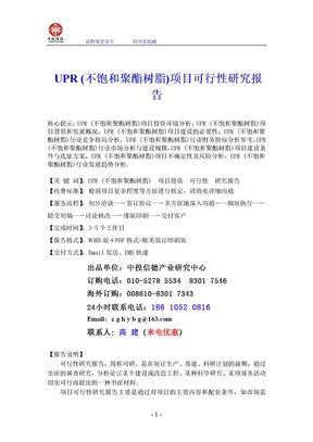 UPR (不饱和聚酯树脂)项目可行性研究报告.doc