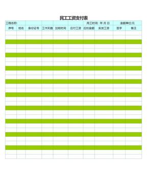 民工工资表(自动计算).xls