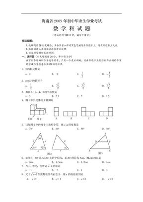 2009年海南省中考数学试题及答案.doc