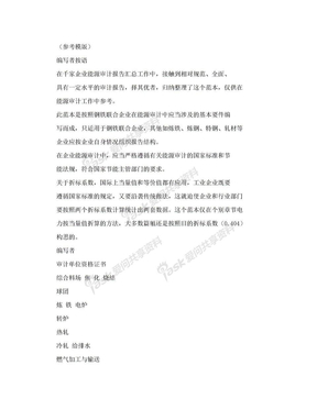 钢铁行业能源审计报告(参考模版).doc