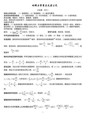 材料力学重点及公式总结.pdf