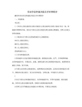 劳动争议仲裁开庭公开审理程序.doc