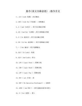 S7-200 PLC西门子指令中英文全称对照.doc