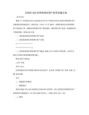 自治区XXX经营性国有资产托管实施方案.doc
