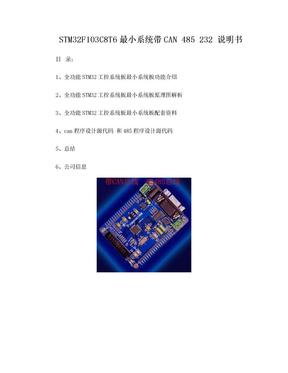 STM32 带can通讯 485 串口 232串口通讯 中文件资料 最小系统说明书.doc