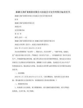 新疆天龙矿业股份有限公司水泥公司安全环保目标责任书.doc