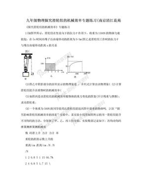 九年级物理探究滑轮组的机械效率专题练习(南京清江花苑.doc