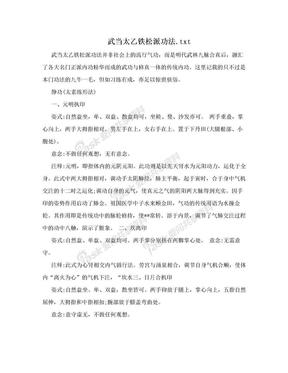 武当太乙铁松派功法.txt.doc