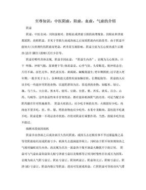 至尊知识:中医阴虚,阳虚,血虚,气虚的介绍.doc