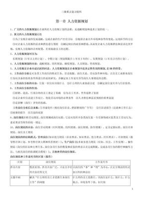 人力资源管理师三级考试重点复习资源.doc