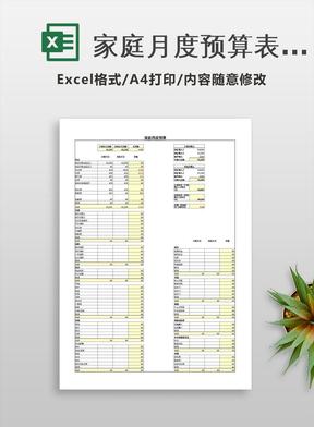 家庭月度预算表excel表格模板.xls