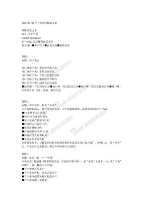 武汉沌口泰合中央公寓后续报版文案