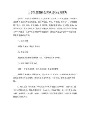 大学生暑期社会实践调查策划.doc
