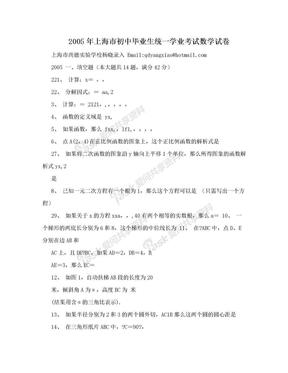 2005年上海市初中毕业生统一学业考试数学试卷.doc
