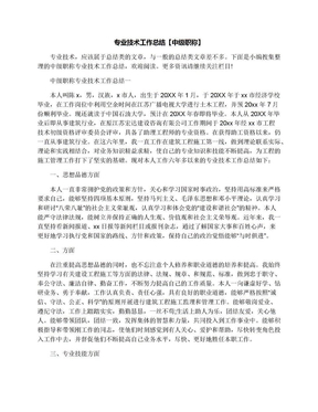 专业技术工作总结【中级职称】.docx
