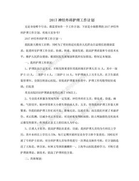 2017神经外科护理工作计划.doc