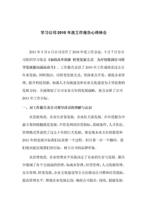 学习公司2010年度工作报告心得体会.doc