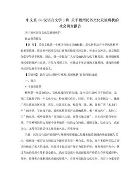 中文系 08汉语言文学3班 关于梧州民俗文化发展现状的社会调查报告.doc