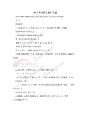 2010中考数学衡阳试题.doc