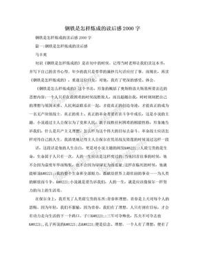 钢铁是怎样炼成的读后感2000字.doc