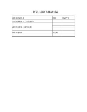 新员工培训计划表-模板.doc
