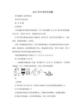 2013年中考化学试题.doc