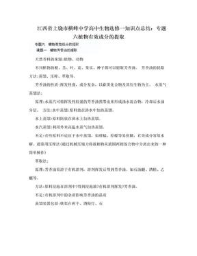 江西省上饶市横峰中学高中生物选修一知识点总结:专题六植物有效成分的提取.doc