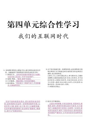 【人教版初中语文八年级上册】第四单元综合性学习  我们的互联网时代  练习.ppt