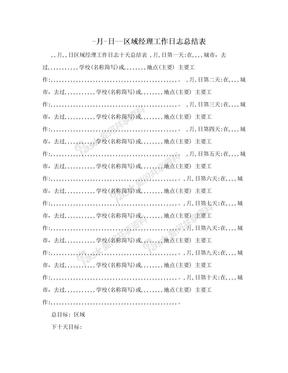 -月-日--区域经理工作日志总结表