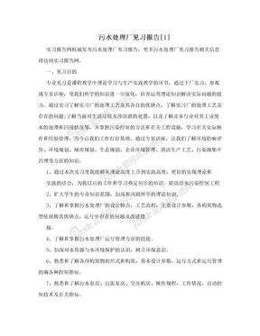 污水处理厂见习报告[1]
