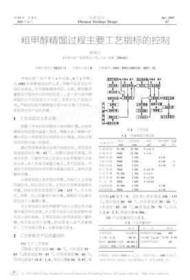 粗甲醇精馏过程主要工艺指标的控制