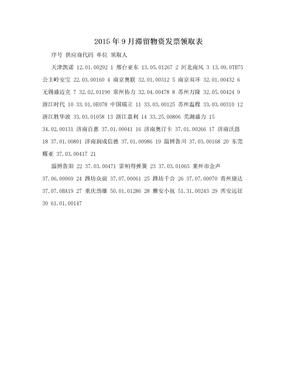 2015年9月滞留物资发票领取表