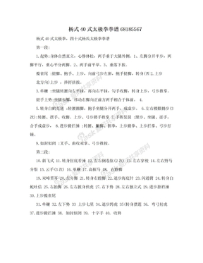 杨式40式太极拳拳谱68185567