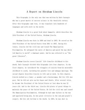 英语书评《林肯传》