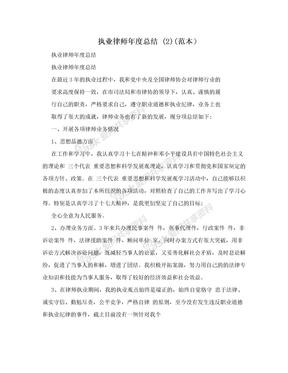 执业律师年度总结 (2)(范本)