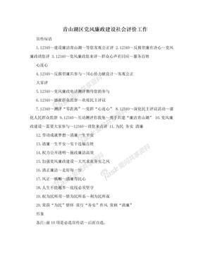 青山湖区党风廉政建设社会评价工作