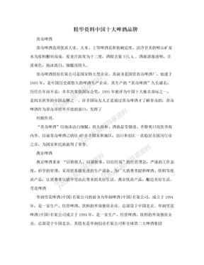 精华资料中国十大啤酒品牌