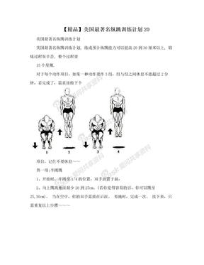 【精品】美国最著名纵跳训练计划20
