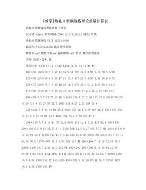 [教学]热轧H型钢规格理论重量计算表