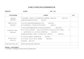 北京理工大学硕士学位论文答辩成绩评分表