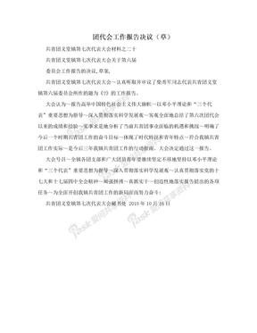 团代会工作报告决议(草)