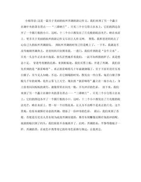游记作文:美丽的杭州西湖600字作文