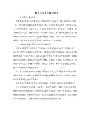 村关工委工作计划例文