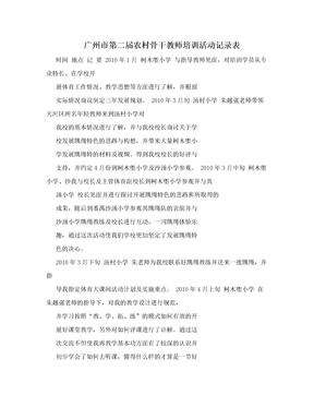 广州市第二届农村骨干教师培训活动记录表