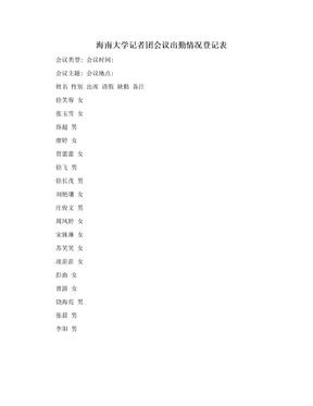 海南大学记者团会议出勤情况登记表