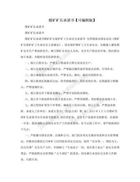 煤矿矿长承诺书【可编辑版】