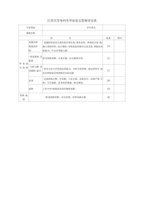 江苏大学本科生毕业论文答辩评分表